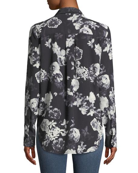 Sunaya Floral Photo Button-Front Silk Blouse
