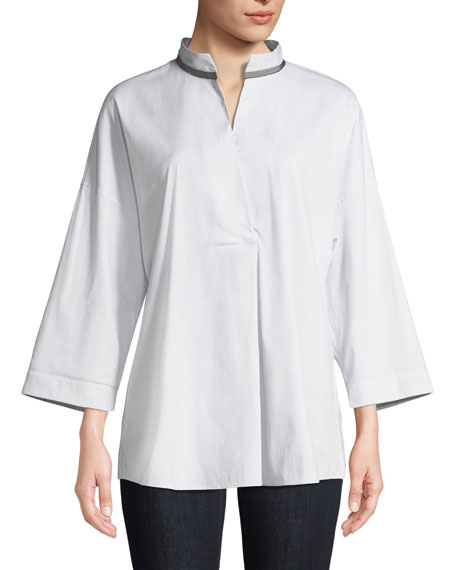 Dakota Mandarin-Collar Blouse
