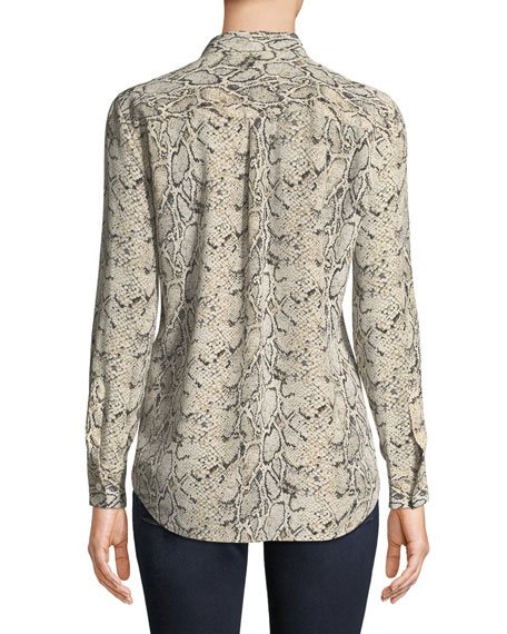 9c39edb3ebce3 Equipment Slim Signature Python-Print Silk Button-Front Blouse