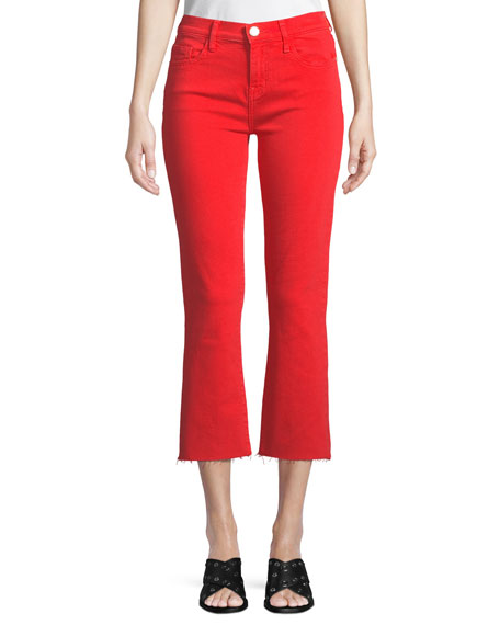 Current/Elliott The Kick Flare-Leg Cropped Jeans with Cut