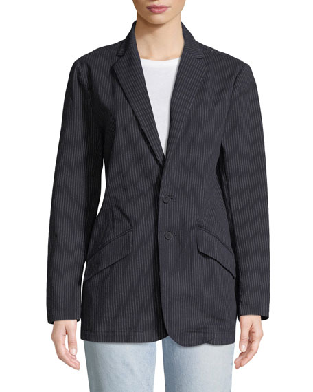 Late Night Striped Button-Front Blazer
