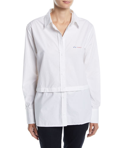 Edie Embroidered Button-Front Shirt w/ Snap-Off Hem