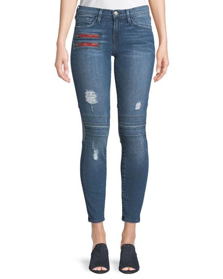 Etienne Marcel Two-Tone Frayed Skinny Jeans w/ Zippers