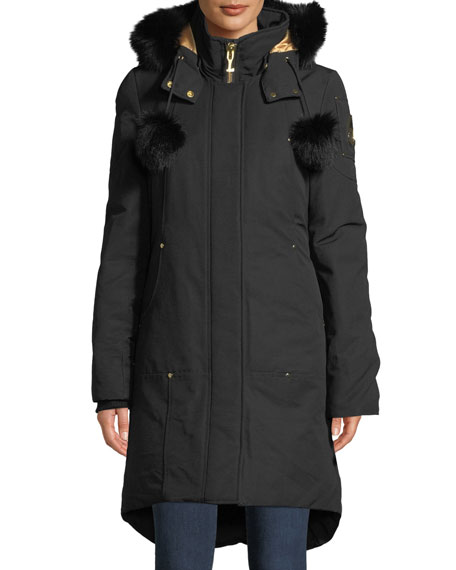 Moose Knuckles GOVERNOR LAKE LONG PARKA W/ FUR TRIM & POMPOMS