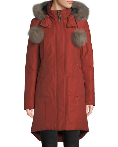 Moose Knuckles MEIGHEN PARKA COAT W/ FUR HOOD & POMPOMS