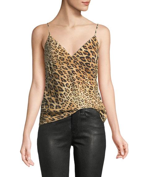 faefb42b8fe1e7 FRAME V-Neck Cheetah-Print Silk Cami Top