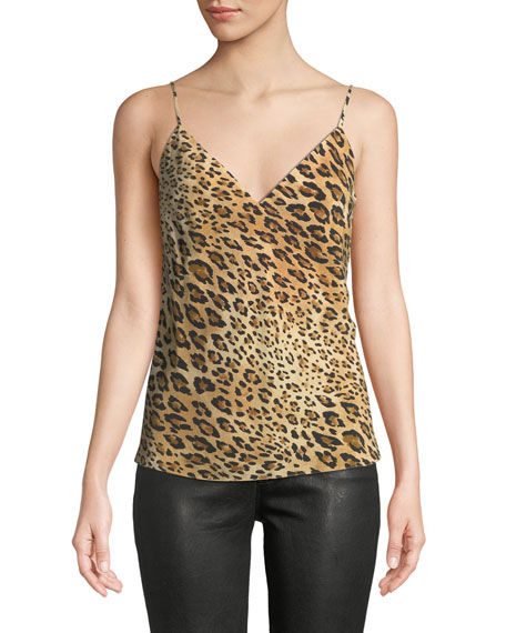 V-Neck Cheetah-Print Silk Cami Top