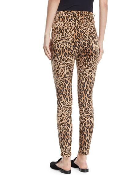 Ali High-Rise Skinny Leopard Cigarette Jeans