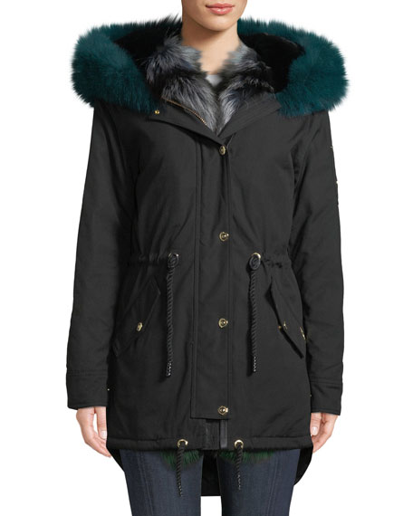 Moose Knuckles FOXY STELLAR PARKA COAT W/ HOOD & FUR TRIM