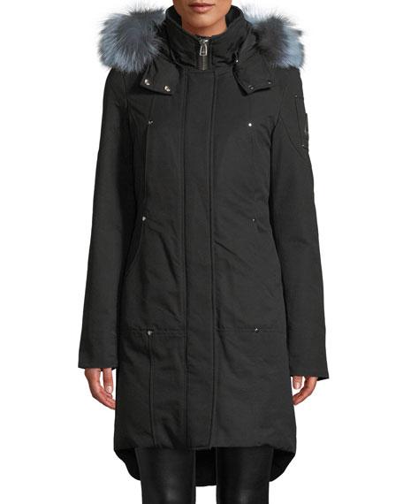 Ivex Valley Parka Coat W/ Fur Hood in Black/Blue