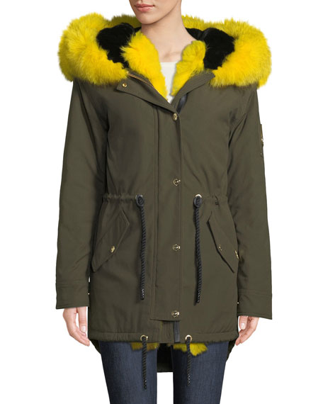 Moose Knuckles STELLAR LONG-SLEEVE HOODED CANVAS PARKA JACKET W/ FUR TRIM