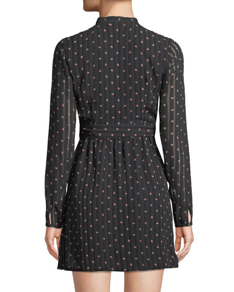 Leila Printed Long-Sleeve Mini Dress