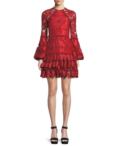 Fransisca Floral Lace Blouson-Sleeve Dress
