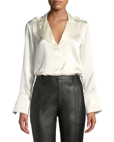 Aleson Silk Button-Front Top