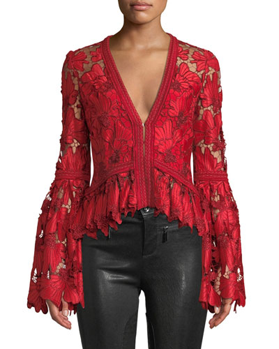 Vinton V-Neck Floral Lace Long-Sleeve Top