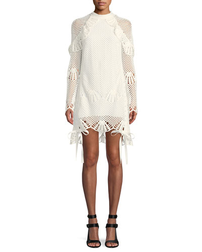 Crewneck Crochet Lace Short Tunic Dress
