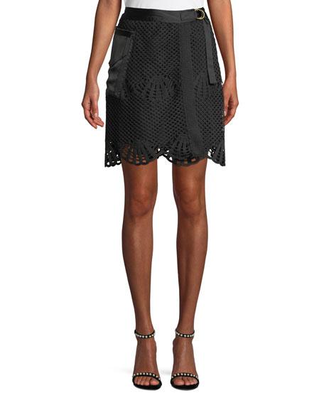 df7ff65e3 Self-Portrait Scalloped Crochet Lace Mini Skirt