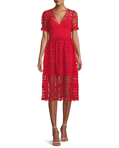 V-Neck Lace Midi Cocktail Dress, Red