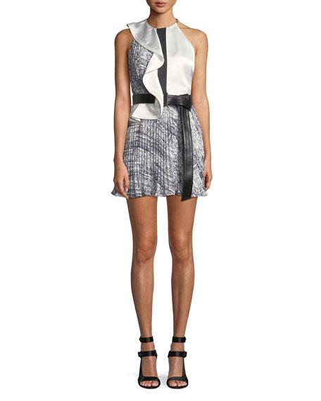 Asymmetric Frill Contrast Mini Dress