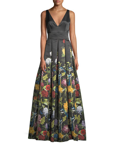 Chantal Plunging V-Neck Flare Gown