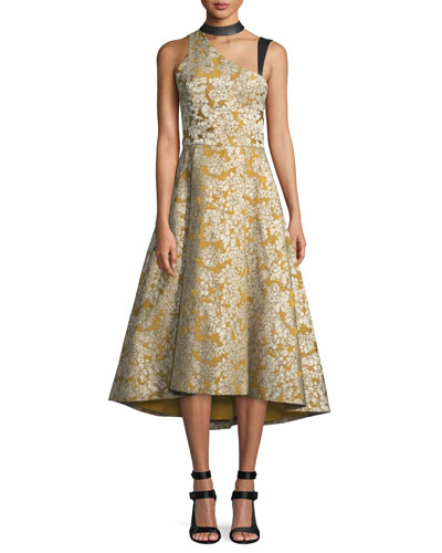 Chrissy Sleeveless Floral Midi Dress w/ Leather Trim