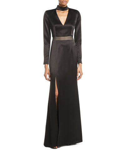 Arial Mock-Neck Long-Sleeve Gown