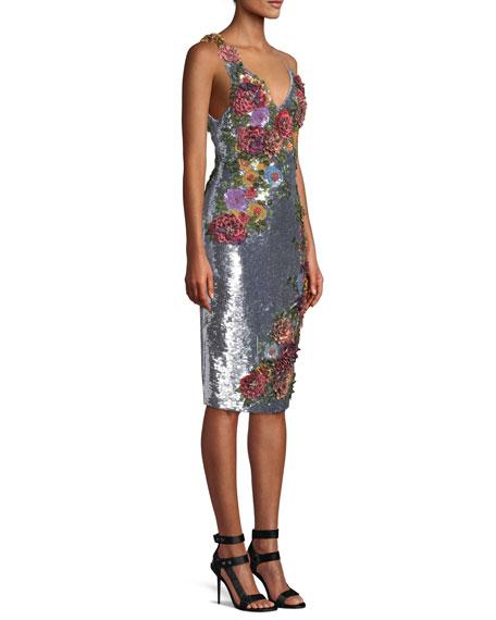 8efa93f7683 Alice + Olivia Francie Sequin Floral Embellished Cocktail Dress