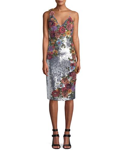Francie Sequin Floral Embellished Cocktail Dress