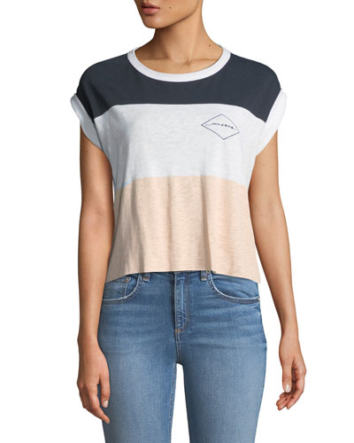 Percy Crewneck Rolled-Cuff Colorblocked Graphic-Print Tee