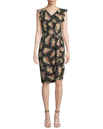 Ruched Sleeveless Floral-Print Ruffle Dress