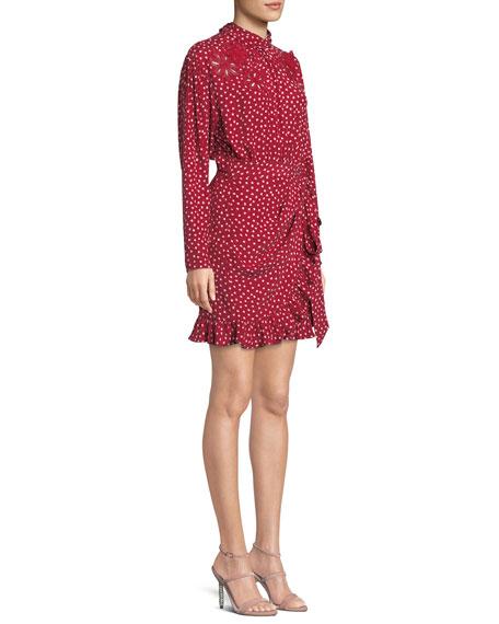 Long-Sleeve 3-D Floral-Embroidery Heart-Print Silk Mini Dress