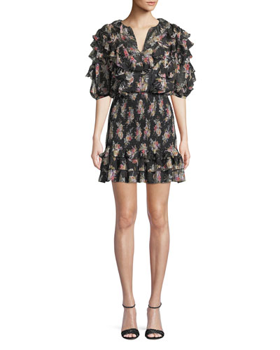 Smocked Short-Sleeve Floral Ruffle Short Dress