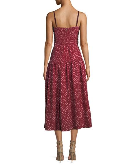 Shirred Heart-Printed Silk Midi Dress