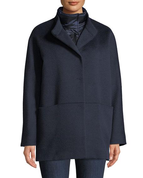Cinzia Rocca Button-Front Wool Coat w/ Removable Nylon