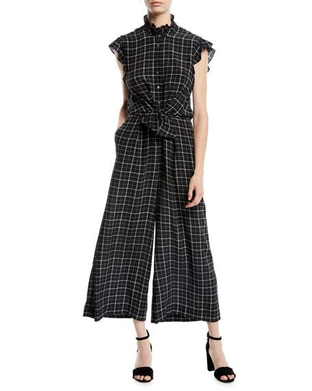 Sleeveless Plaid Silk Wide-Leg Jumpsuit, Black