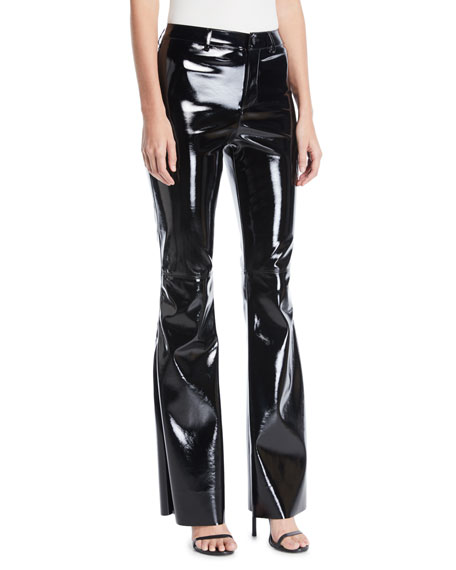 Alice + Olivia Brent High-Waist Pleather Bell-Bottom Pants