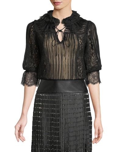 e3e082655566 Pauletta Pleated Lace Tie-Neck Blouse Quick Look. Alice + Olivia