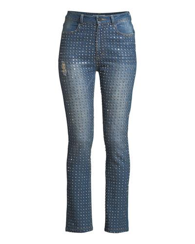 Fabrice Studded Straight-Leg Jeans