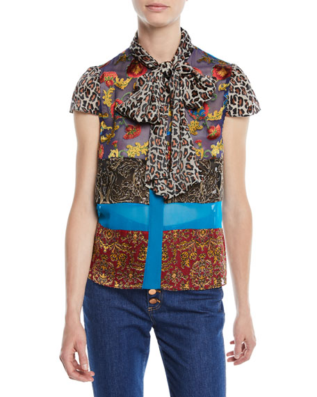 Jeannie Bow-Collar Mixed-Print Button-Front Blouse in Multi