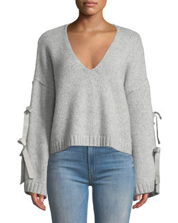 35397d1c65c96 cinq a sept Sidel Cropped Tie-Sleeve Wool Sweater