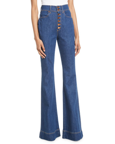AO.LA BY ALICE+OLIVIA Beautiful High-Rise Wide-Leg Jeans in Dark Blue