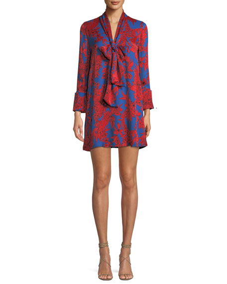 Gwenda Floral-Print Tie-Neck Tunic Dress, Multi