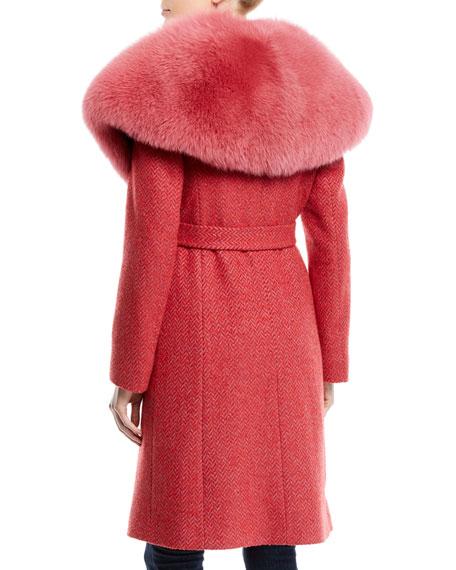 Wrap Coat w/ Wide Fur Collar