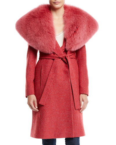 Wrap Coat w/ Wide Fur Collar