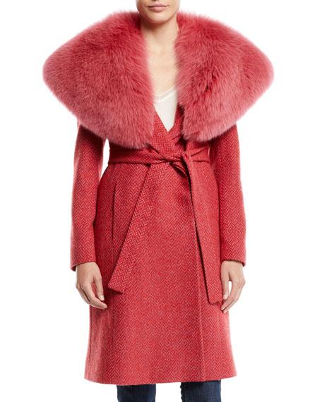 Fleurette Wrap Coat w/ Wide Fur Collar