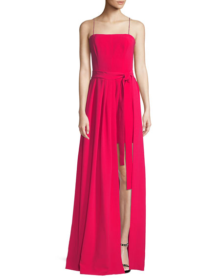 Gianni Draped Sleeveless Crepe Gown, Red