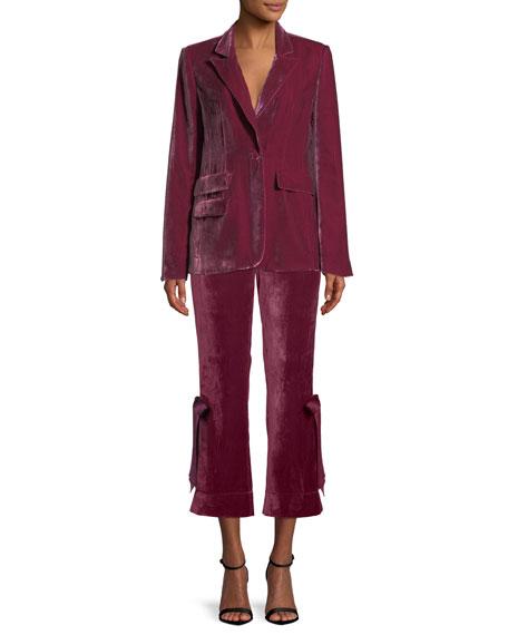 Lou Cropped Velvet Pants w/ Ribbons