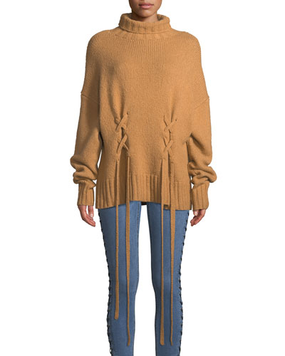 Rhea Lace-Up Wool-Blend Sweater