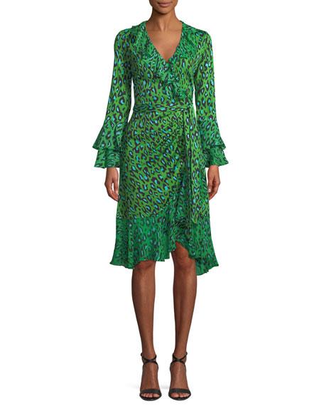 Diane Von Furstenberg Leopard Print Silk Ruffle Wrap Dress In Green