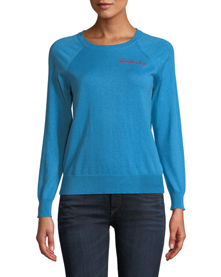 REPLICA LOS ANGELES Heartbreak-Embroidered Crewneck Raglan Cashmere-Cotton Sweater in Blue